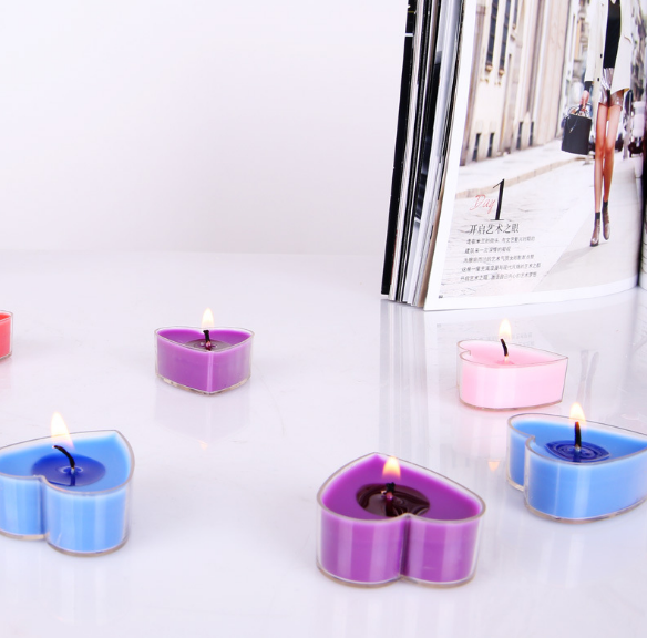 Heart-shaped scented candles, PVC box, DI